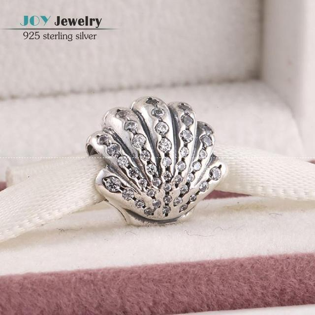 Fit European Bracelets Diy Ariel Shell Charm  Beads with Clear Cz Pave Authentic 925 Sterling Silver Women Fine Jewelry SH0651