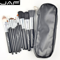JAF High Quality 12pcs Make Up Brush Set Leather Case With Zipper Professional Cosmetic Pincel Maquiagem