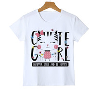 Summer Kawaii Cat T shirt Naughty Cat 3D Lovely Printing Originality O-Neck harajuku Boys/Girls/Babys T-shirts Tops Tee Y14-95