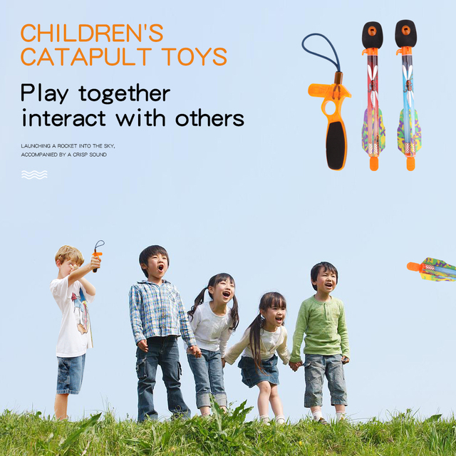 Kids Outdoor Toys Flying Slingshot Rocket Sreaming Whistle Sky Missle Kids Toys for Children Boys Girls Fun Toys Games Gifts