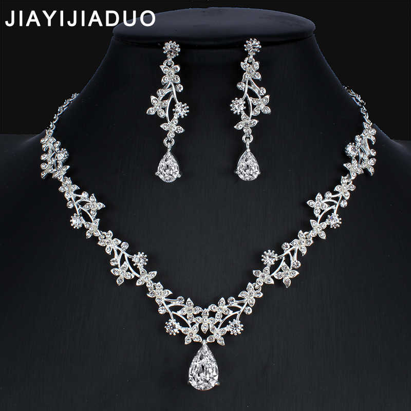 jiayijiaduo Silver color necklace earrings wedding Jewellery set for women and girls dress accessories NE+EA