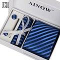 New Arrival 2016 Gravata Ties For Men 17 Types Necktie Ties Sets for Wedding Groom Bussiness Hankie Corbatas Hombre Gift Box Tie