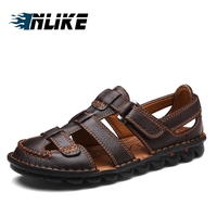 Inlike Brand Big Size Drop Shipping Mens Sandals Genuine Leather Sandals Outdoor Casual Men Leather Sandals For Men