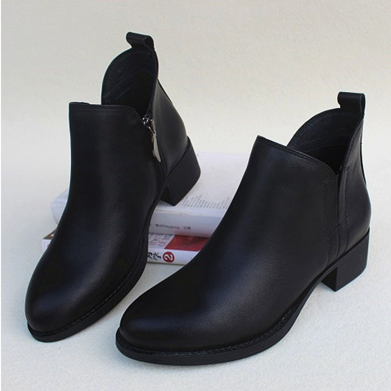 Womens Boots Female Shoe 100 Genuine Leather Chelsea Boots Black Ladies Ankle Boots 3 5cm Heel