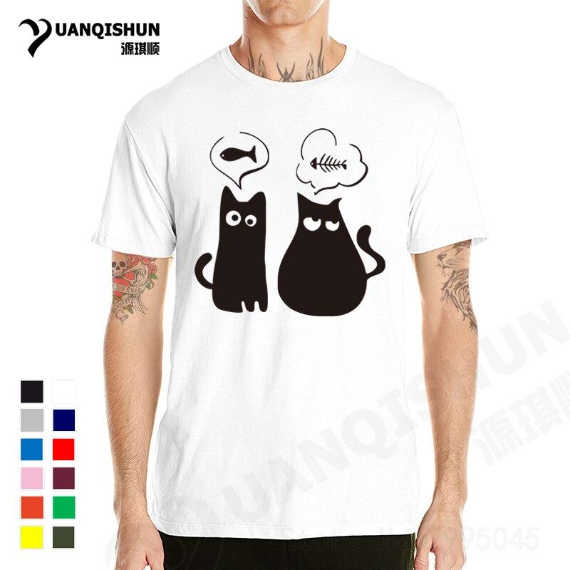 YUANQISHUN Fine   T  -  shirt   100% Cotton Eat Fish Cat   T     Shirt   Lady Cartoon Funny TShirt Men/Women Unisex Tshirt Large Size XS-3XL