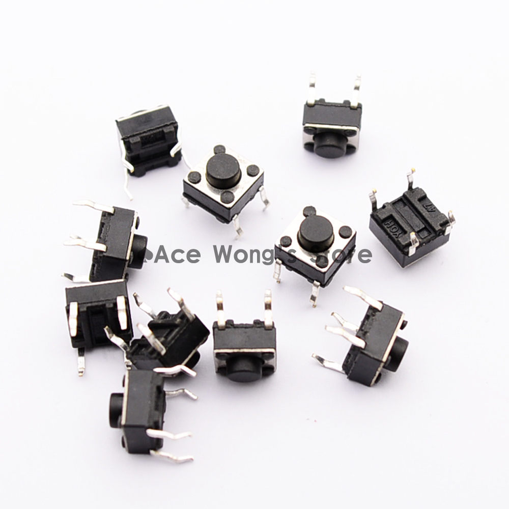 100pcs Tactile Push Button Switch Momentary Tact 6x6x5mm DIP Through-Hole 4pin 50pcs lot 6x6x4 3mm 4pin smt g88 tactile tact push button micro switch self reset dip top copper free shipping