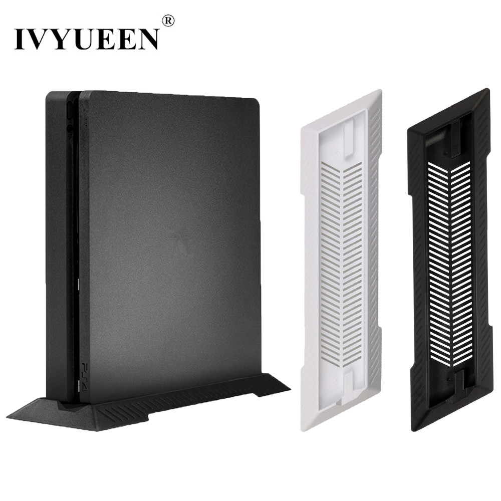 IVYUEEN Black / White Anti-Slip Vertical Stand Dock Mount Cradle Holder For Sony PlayStation 4 PS4 Slim Console Game Accessories