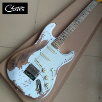 New style high quality relic remains ST electric guitar, handmade ST aged Maple fingerboard relic electric guitar, free shipping