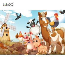 Laeacco Rural Farm Safari Animal Birthday Party Baby Cartoon Pattern Portrait Photo Backdrop Photography Background Studio