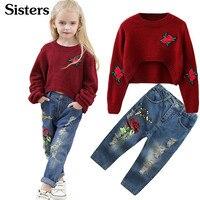 Осенне-зимняя модная детская одежда для сестер, свитер с розой + рваные джинсы, комплект из 2 шт., модное платье для девочек