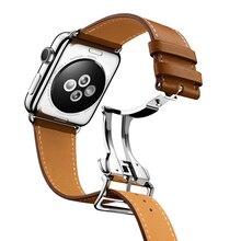 URVOI Deployment, correa de hebilla para Apple Watch 4 3 2 6 5 1 SE, correa para iwatch, diseño de una sola vuelta, cuero Swift 38/40 42/44mm