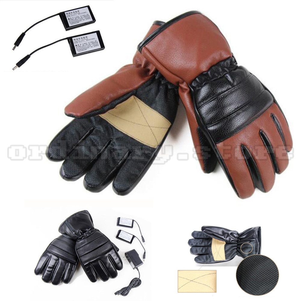 3000mAh Rechargeable Battery PU Leather Windproof Winter Warm Ski Outdoor Work Motorcycle Cycling Electric Heated Hands Gloves 1 pair 4000mah rechargeable battery with smart switch on off electric heated warm glove winter outdoor work ski warmer gloves
