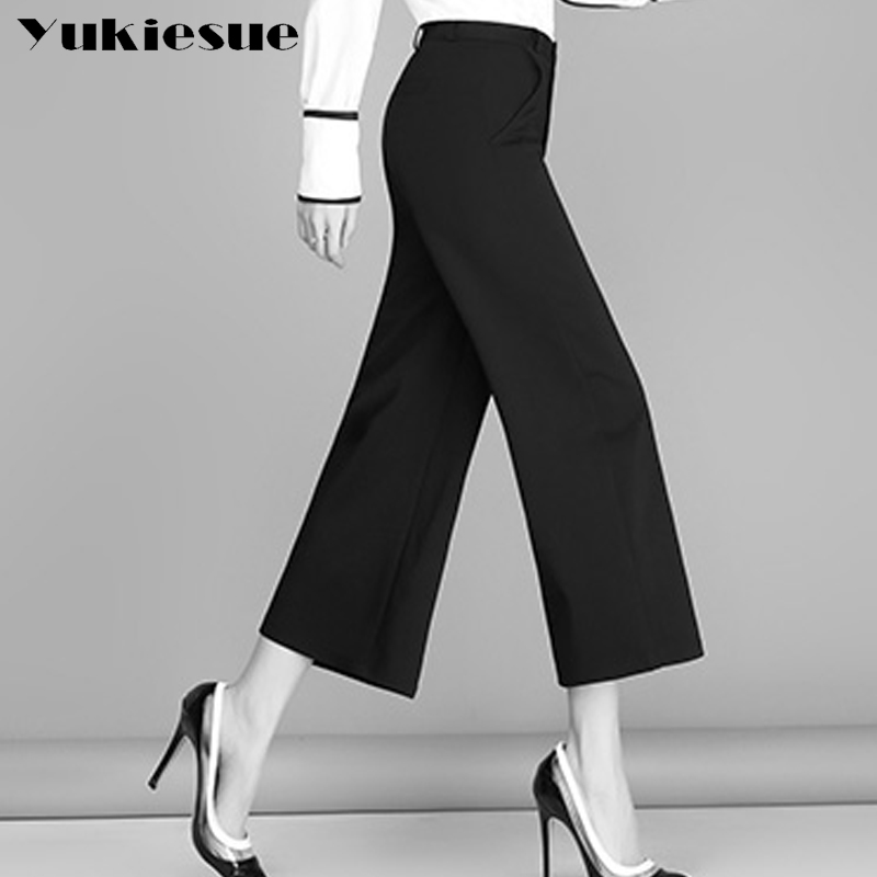 Wide leg   pants     capris   women 2017 high waist solid loose OL office work wear ankle length   pants   female trousers Plus large size
