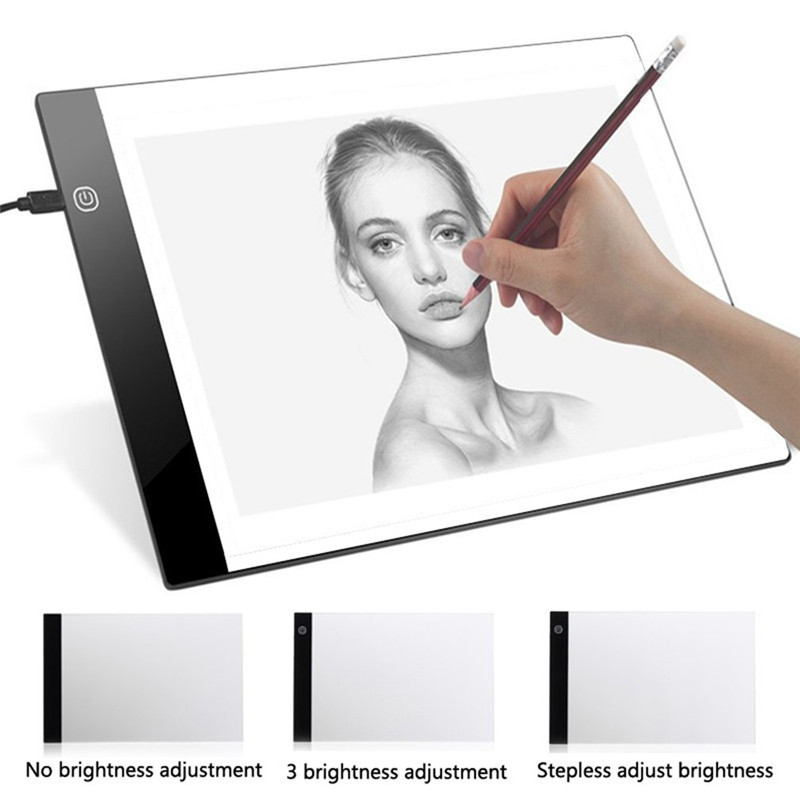 A4 Magnetic LED Light Painting Drawing Board Artist Thin Art Stencil Board Tracing Drawing Board LED Light Box Tablet Art Stenci