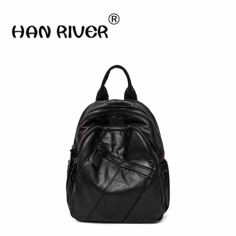 The first layer of cow leather female Korean version of leather double shoulder bag 2018 new simple splicing fashion knapsack new korean version of the first layer of leather pillow bag large lychee pattern handbag shoulder messenger fashion leather leat