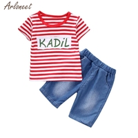 Sale Baby Set Summer 2018 Cotton Fashion Toddler Kid Baby Boys Outfits Clothes Stripe T Shirt