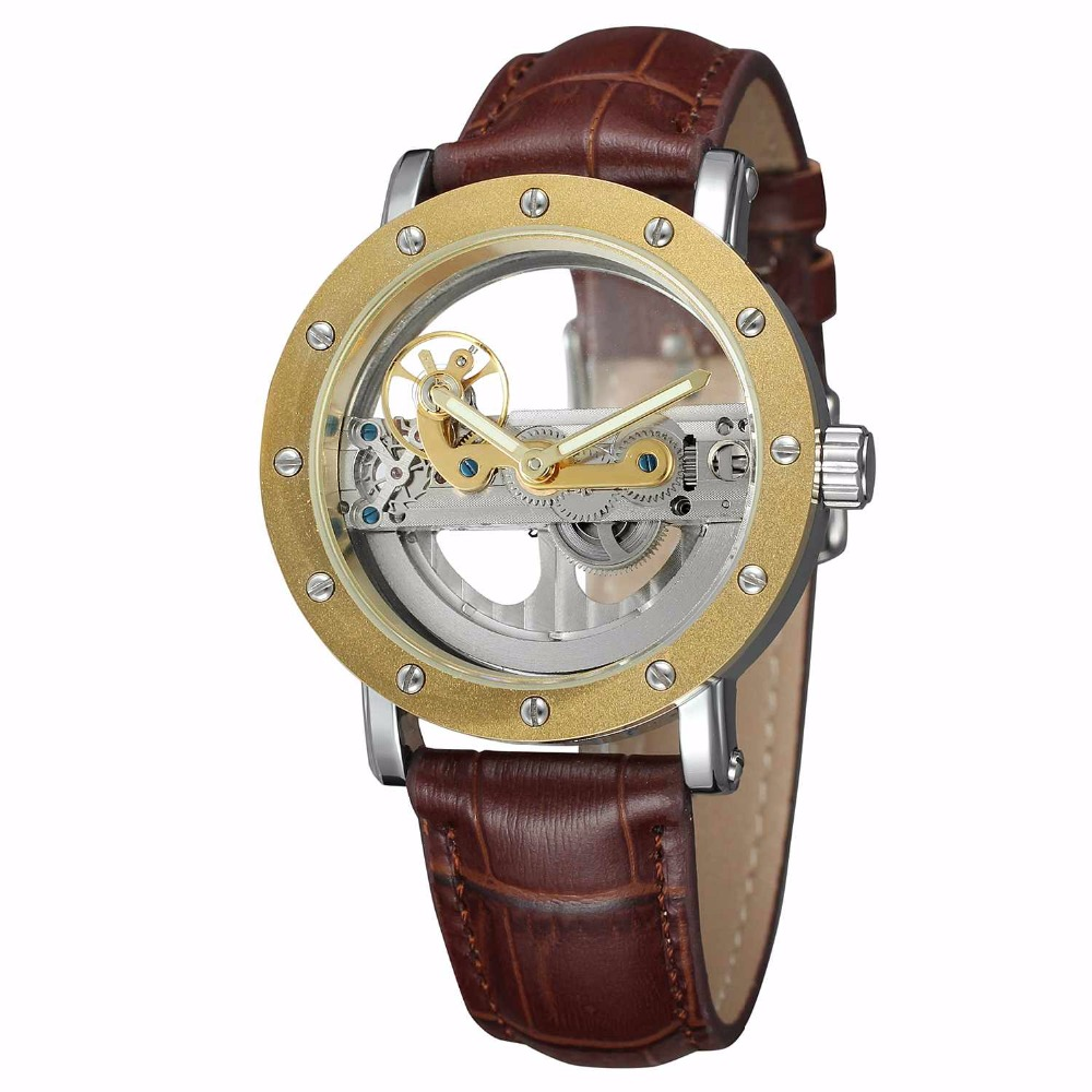 New Luxury Transparent Tourbilion Dial Golden Case Skeleton Steampunk Automatic Self Wind Mechanical Mens Watch Brown Leather luxury cool high quality automatic self wind skeleton hollow dial mechanical watch with leather strap gift to men