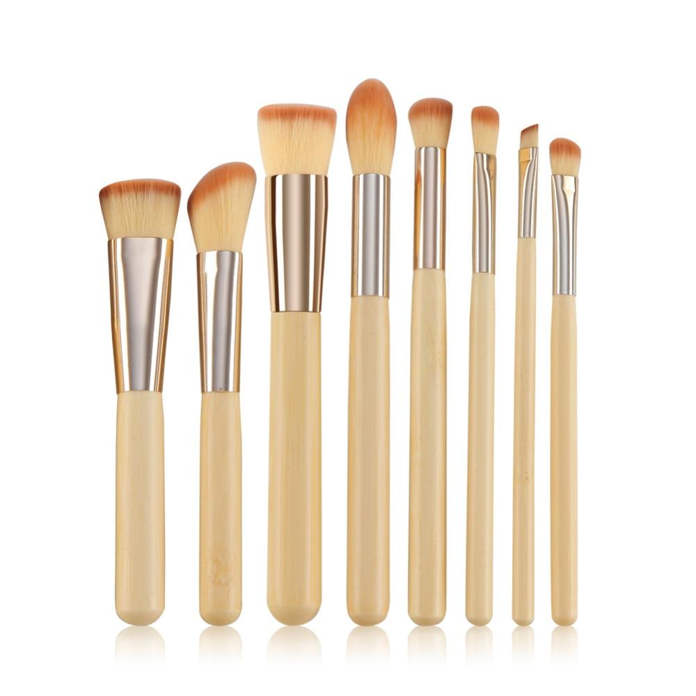 Bamboo Handel Make Up Brushes 8pcs Brush Sets Professional Nature Bristle Brushes Beauty Essentials Makeup Brushes