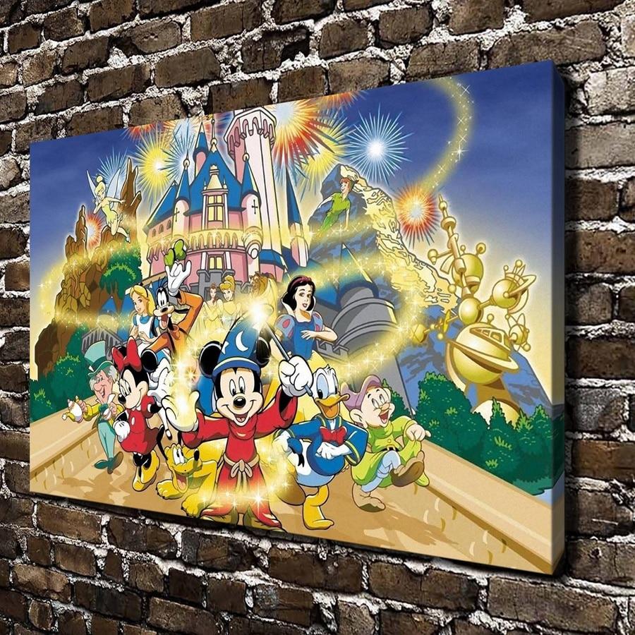 A999 Mickey Mouse princess Castle Cartoon Movies,HD Canvas Print ...