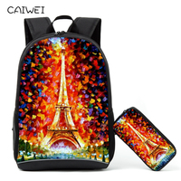 Children School Backpack With Pencil Case Oil Painting Venice The Eiffel Tower Student Schoolbag+Pencil Bag Learning combination