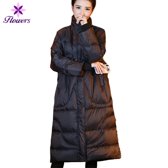 a34892ffb11 New Korean Warm Winter White Duck Down Women Puffer Jacket Plus Size Female  Thickening Loose Warm Parka Long Down Coat LQ350