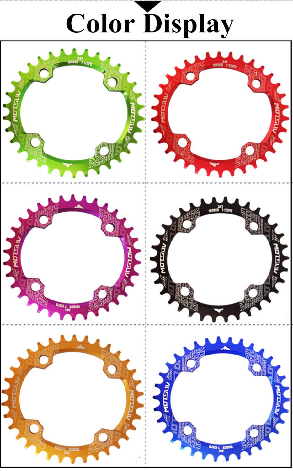ALI shop ...  ... 32784521791 ... 5 ... MOTSUV Bicycle Oval Shape Narrow Wide Chainwheel 32T/34T/36T/38T 104BCD Chainring Bike Oval Crankset Single Plate Bicycle Parts ...