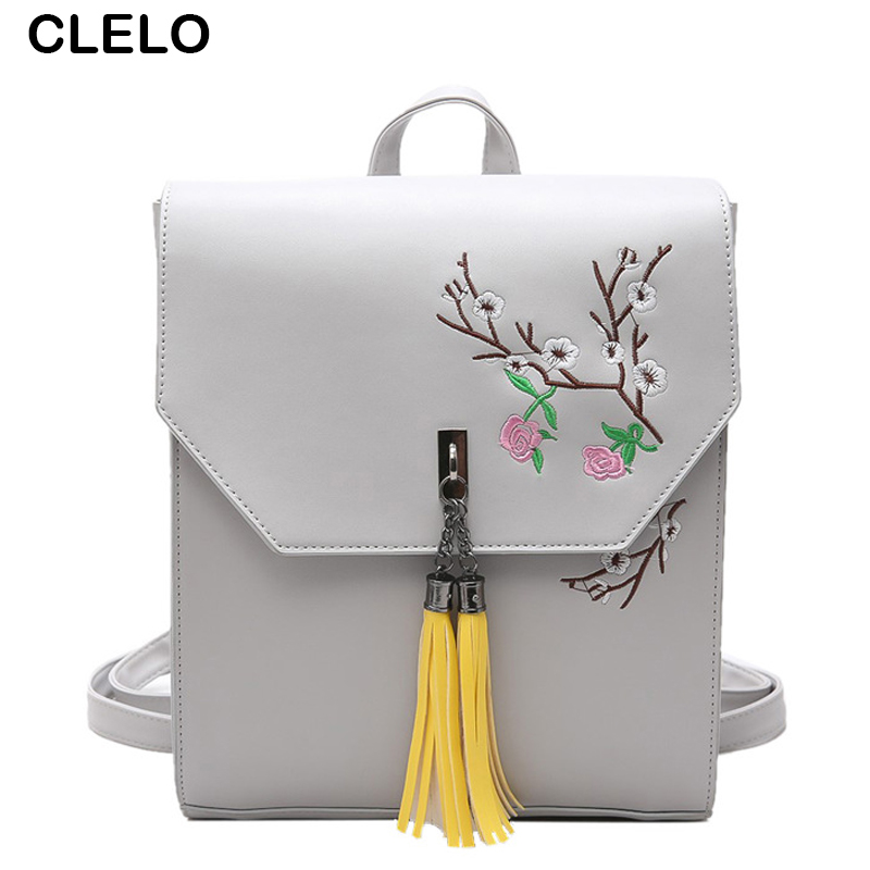 CLELO 2017 new fashion women's pu backpack vintage tassel floral embroidery School Backpacks teenage girls bags preppy style