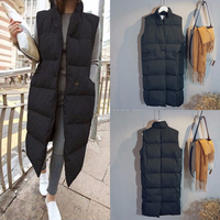 Harajuku Casual Long Cotton Vest Women Fashion 2019 Autumn Winter Warm Coat Woman Ladies Waistcoat Slim Black Plus Size Jacket