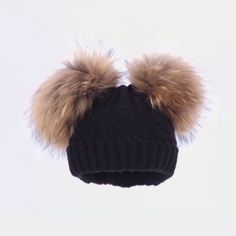 Cora Wang Kids Pom Pom Wool Knitted Winter Caps Beanies For 1-5 Baby Boys Girls Dual Fur Ball Children's Warm Pompom Hat Bon wang chun 9x3 5 5