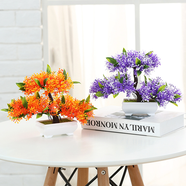 Captivating Artificial Plants Vase Set Simulation Flower Pine Tree Small Bonsai Mini  Potted Wedding Furnishing Living Room