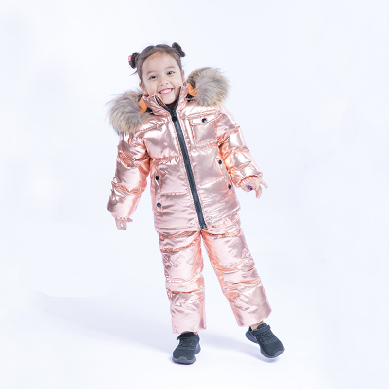 Russian Winter Baby Snowsuits 2018 Winter Suits Boys Girls Duck Down Coats Overalls Clothing Set Luxury Fur Children's Clothing