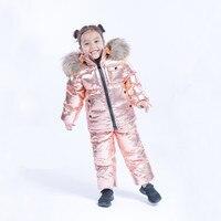 Русские зимние детские зимние костюмы 2018 г. Зимние костюмы пуховые пальто для мальчиков и девочек, комбинезоны, комплект одежды, роскошная М