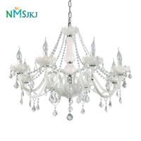 6/8/10/12/15/18 Lights Modern Jade Color Glass Lamps Transparent K9 Crystal Candle Chandelier for Living Room Restaurant Lounge