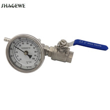 Stainless Home Brew Thermometer and Ball Valve Kit Bi-metal 3Face & 2Probe, 1/2 Hose Barb Beer Accessories