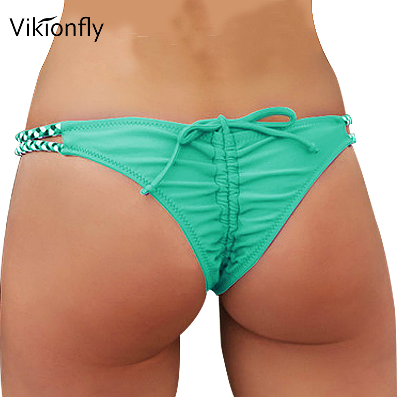 Vikionfly Crochet Brazilian Cheeky Bikini Bottom Thong Bathing Suit 2019 Sexy Ruched G String Swim Trunks Women Swimwear Thong