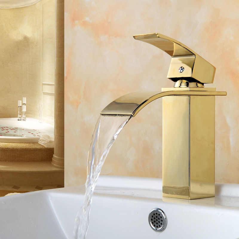 זהב אגן יהירות כיור ברז ידית אחת מפל אמבטיה מיקסר סיפון רכוב מלוטש רחצה זהב כיור מיקסר ברז
