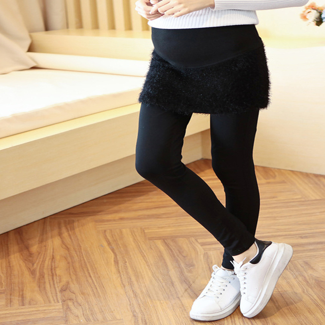 2016 korean new fashion maternity black leggings(with skirts) cute pregnant womens leggings cotton comfortable pregnancy legging