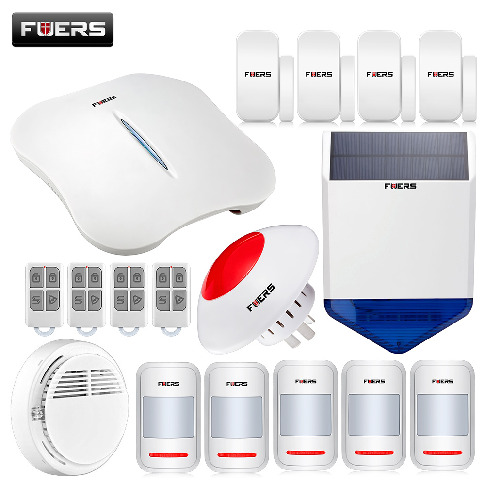 PSTN WIFI Alarm System APP Control Wireless Alarm Systems Security Home with Wireless Solar Siren/Flashing Siren/Touch Keypad wireless smoke fire detector for wireless for touch keypad panel wifi gsm home security burglar voice alarm system