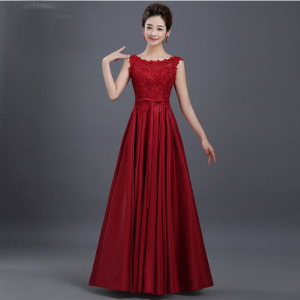 Cheap Lady Girl Formal Long Sexy Dark Red Simple Prom