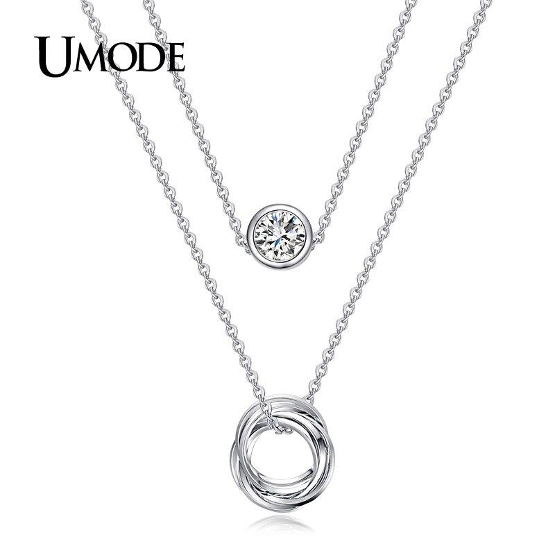 UMODE Unique Design Fashion Jewelry Two Layer Pendant Necklace For Women White Gold Plated Genuine Austrian Rhinestones AUN0119B Ожерелье