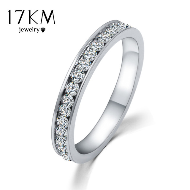 17KM Silver Color Crystal Wedding Rings for Women Titanyum Men Stainless Steel E