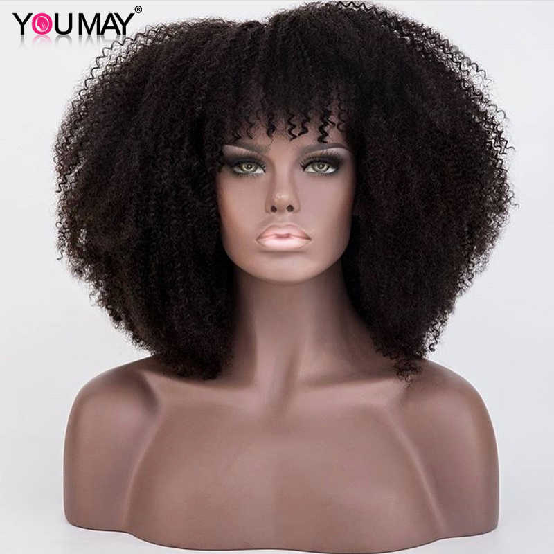 250 Density Afro Kinky Curly Lace Front Human Hair Wigs With Bangs 13X6 Short Bob Lace Front Wigs For Women Pre Plucked You May