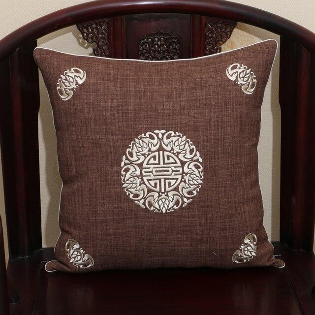 Chinese Embroidered Retro Decorative Cushions Pillow Sofa Chair Car Lumbar Support Cushion Cotton Linen