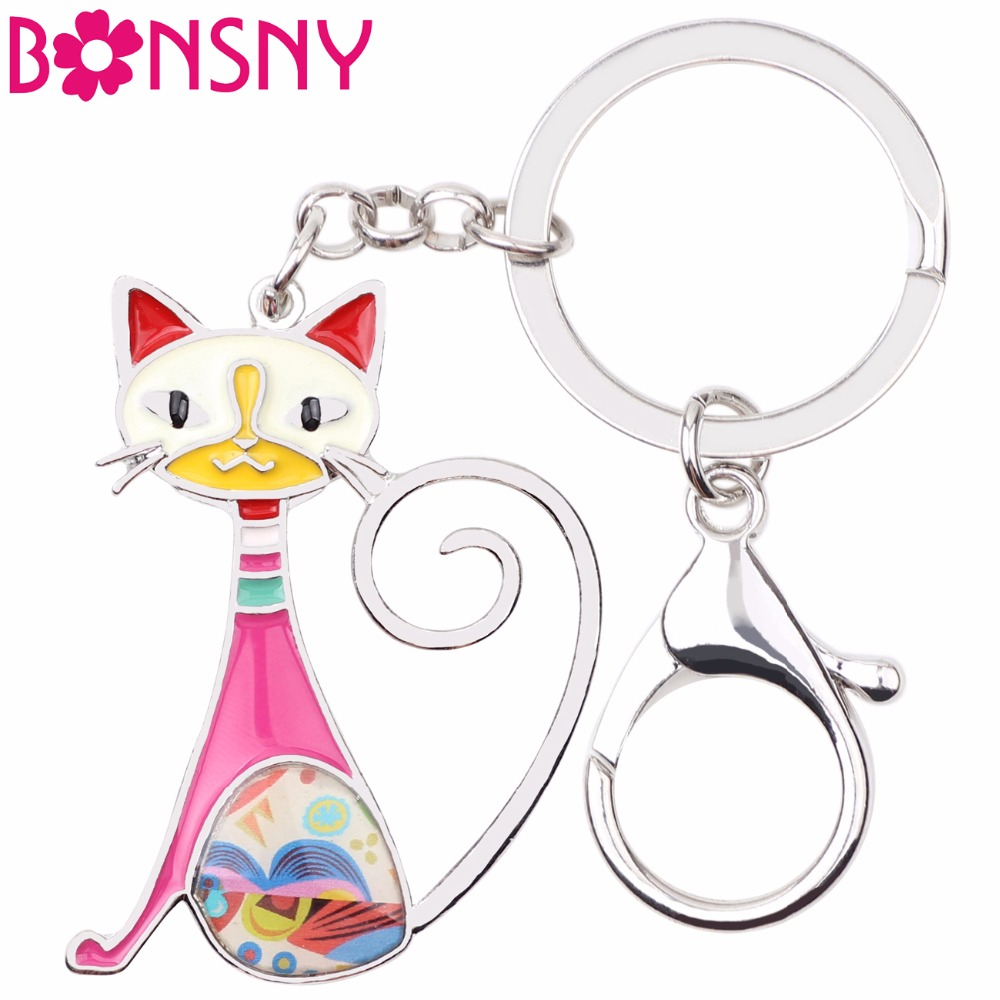 Bonsny Enamel Metal Cat Key Chain Key Ring Women Handbag Charm 2017 New Fashion Animal Jewelry Accessories Car Key Holder