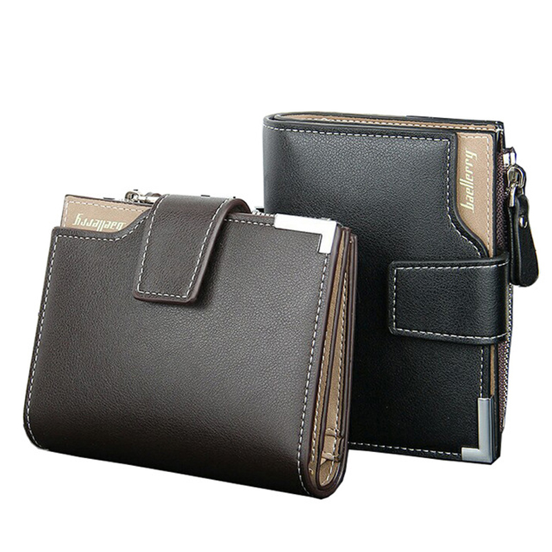 New Brand Short PU Leath Wallets Men Dollar Price Bifold Wallet Man Clutch Card Holder Coin Purse Pockets With Zipper