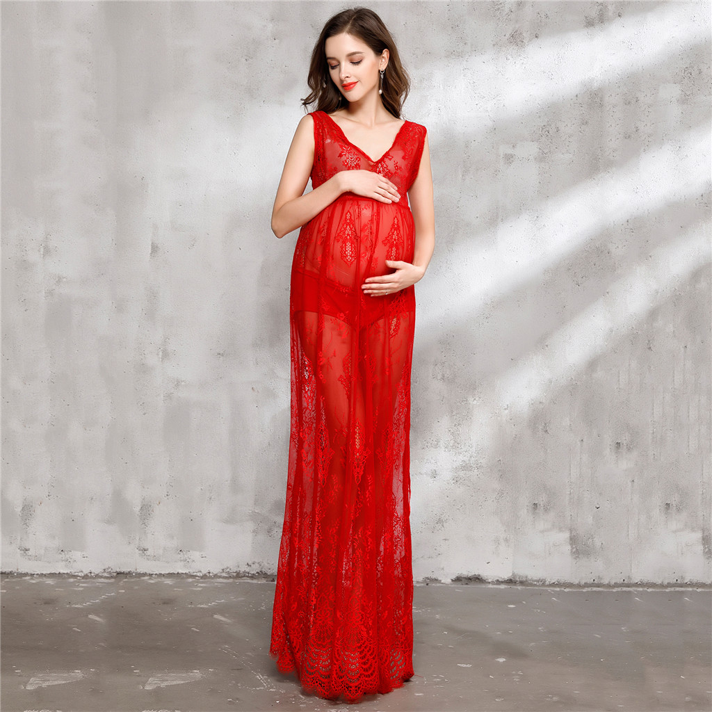 Sexy Sheer Lace Maxi Dress Maternity Photography Dress Photo Shoot Gown ...