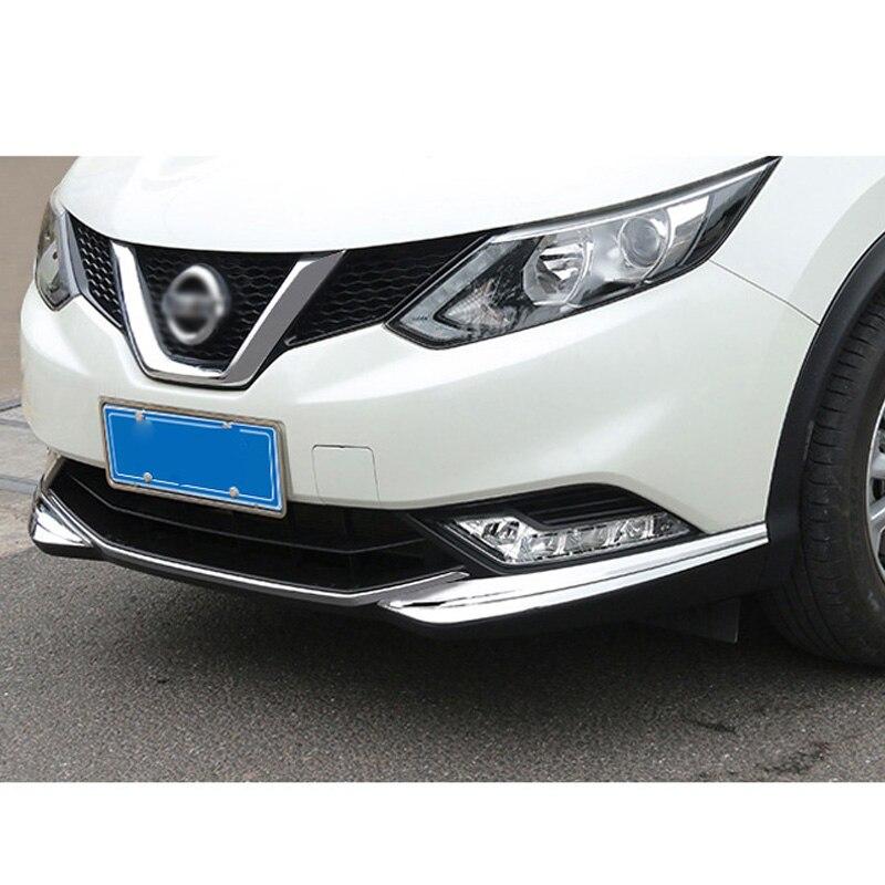 Accessoires de voiture pour Nissan Qashqai 2016 2017 ABS Chrome avant bas pare-chocs capots de bordure calandre bandes voiture moteur protecteur 2 pièces