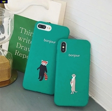 Cyato Lovely Summer Clarity green Cute Fox Couples Case For iPhone 6 6S Plus 7 8 X Soft Back Cover for case Coque