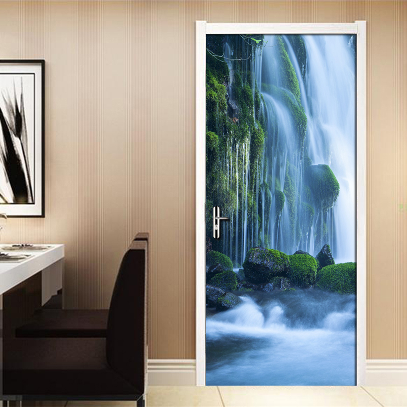 Modern Minimalist Living Room Door Decoration Forest Waterfall Nature Landscape Sticker Mural PVC Self-Adhesive Photo Wallpaper