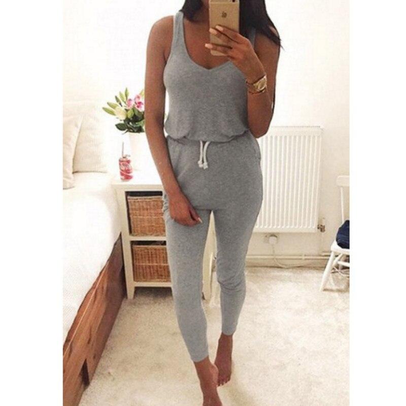 2018 Hot Sale Summer Low Cut Rompers Womens Jumpsuit Black Elastic Waist Sleeveless Long Pants Playsuit Strap Pocket Overalls